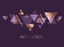 Violet and rose gold abstract triangle dynamics. Geometry purple vector illustration. luxury style elegant pattern for festive header, card, invitation Royalty Free Stock Images