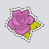 Violet Rose mit grünen Blättern Schneiden Sie es aus patch vektor abbildung