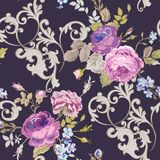 Violet Roses Barocco Flowers Background Violet. Seamless Floral Renaissance Pattern Royalty Free Stock Image
