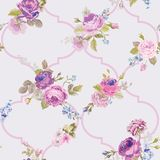 Violet Roses Barocco Flowers Background Violet. Seamless Floral Renaissance Pattern. In vector Royalty Free Stock Images
