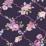 Violet Roses Barocco Flowers Background Violet. Seamless Floral Renaissance Pattern. In vector Royalty Free Stock Photo