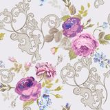 Violet Roses Barocco Flowers Background Violet. Seamless Floral Renaissance Pattern. In vector Royalty Free Stock Photography