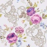 Violet Roses Barocco Flowers Background Violet. Seamless Floral Renaissance Pattern. In vector royalty free illustration