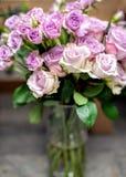Violet roses bouquet Stock Image