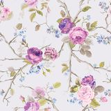 Violet Roses Flowers Texture Background seamless blom- modell stock illustrationer