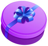 Violet round gift box with ribbon and bow Royalty Free Stock Image