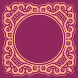 Violet round ornamental background with decorative frame. Retro napkin design in flat and simple style Royalty Free Stock Photo