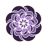 Violet russian culture Flower vector shape. Perfect for eco vegan yoga concept, logo type, graphic design, pattern, icon, wedding. stock illustration