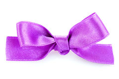 Violet satin gift bow Royalty Free Stock Image