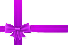 Violet satin ribbon bow Stock Images