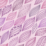 Violet seamless pattern with stylized petals and leaves, abstract background Stock Images