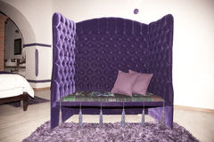 Violet Seat. Violet Hotel fancy hotel seat couch Royalty Free Stock Image