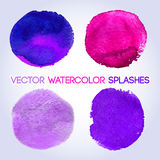 Violet shades watercolor round shaped design Royalty Free Stock Images