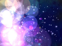 Violet shine and stars on sky background. Stock Images