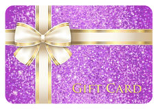 Violet shiny gift card composed from glitters Stock Photos