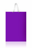 Violet shopping bag,  with clipping path on white backgr Royalty Free Stock Photos