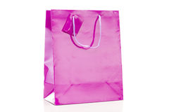 Violet shopping bag on white background Royalty Free Stock Image