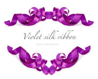 Violet silk ribbon on white Stock Image