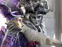 Violet and silver gray masks, Carnival, Venice Royalty Free Stock Photos