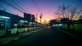 Violet Sky bij Zonsondergang Stock Afbeeldingen