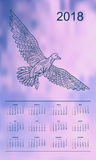 Violet sky calendar year 2018 gull. Business english calendar for wall on year 2018 on the gradient background with hand drawn patterned seagull. Week starts on Royalty Free Stock Image