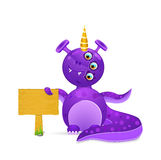 Violet smily monster with wooden sign Stock Images