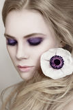 Violet smokey eyes Stock Photography
