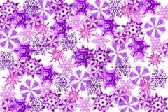 Violet snow flakes Stock Photos