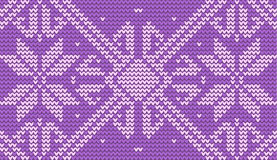 Violet snowflake knitted background stock photos