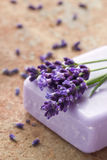 Violet soap with fresh lavender flowers Royalty Free Stock Photos