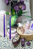 Violet spa. Bathroom decoration with violet color dominating stock photos
