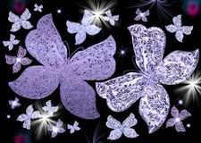 Violet sparkling butterflies Royalty Free Stock Images