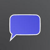 Violet speech bubble for talk at rectangular shape Stock Image