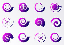Violet spiral icons Royalty Free Stock Photography