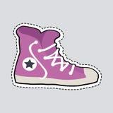 Violet Sport Footwear Patch Shoes mit ausgestrichener Linie lizenzfreie abbildung