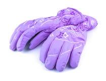 Violet sport gloves Stock Photo