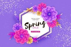 Violet Spring Sale Flowers Banner intelligente Le jour des femmes heureuses Origami 8 mars Jour de mères à la mode Exotique coupé illustration stock