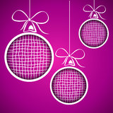 Violet square christmas balls Royalty Free Stock Photos