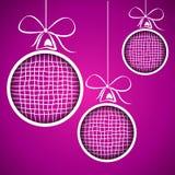 Violet square christmas balls Royalty Free Stock Photos