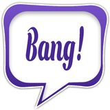 Violet square speech bubble with BANG   text message. Illustration Royalty Free Stock Image