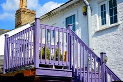 Violet stairs and balcony Stock Images
