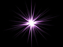 Violet star on a black background. Royalty Free Stock Photography