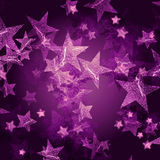 Violet stars. Over dark violet background with feather center Stock Photos