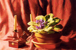 Violet Still Life. Painting of a violet with a wooden box and candle holder in oil technique made on a computer Stock Images