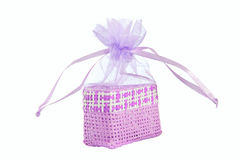 Violet straw paper-bag. Stock Photography