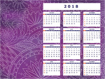 Violet tangle zen pattern calendar year 2018. Business english calendar for wall on year 2018 on the gradient background with hand drawn tangle zen pattern. Week Royalty Free Stock Photo