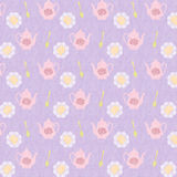 Violet Tea Time background pattern Royalty Free Stock Photos