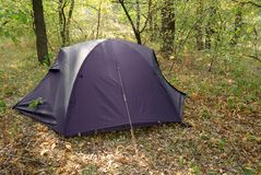 Violet touristic tent Royalty Free Stock Image