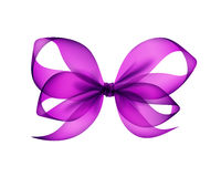 Violet Transparent Bow Top View porpora ha isolato Immagini Stock