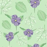 Violet Tropical Textile Floral Repeat Print Pattern  in Vector royalty free illustration